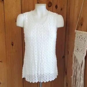 Catherine Malandrino Cream Crochet Sleeveless Tank
